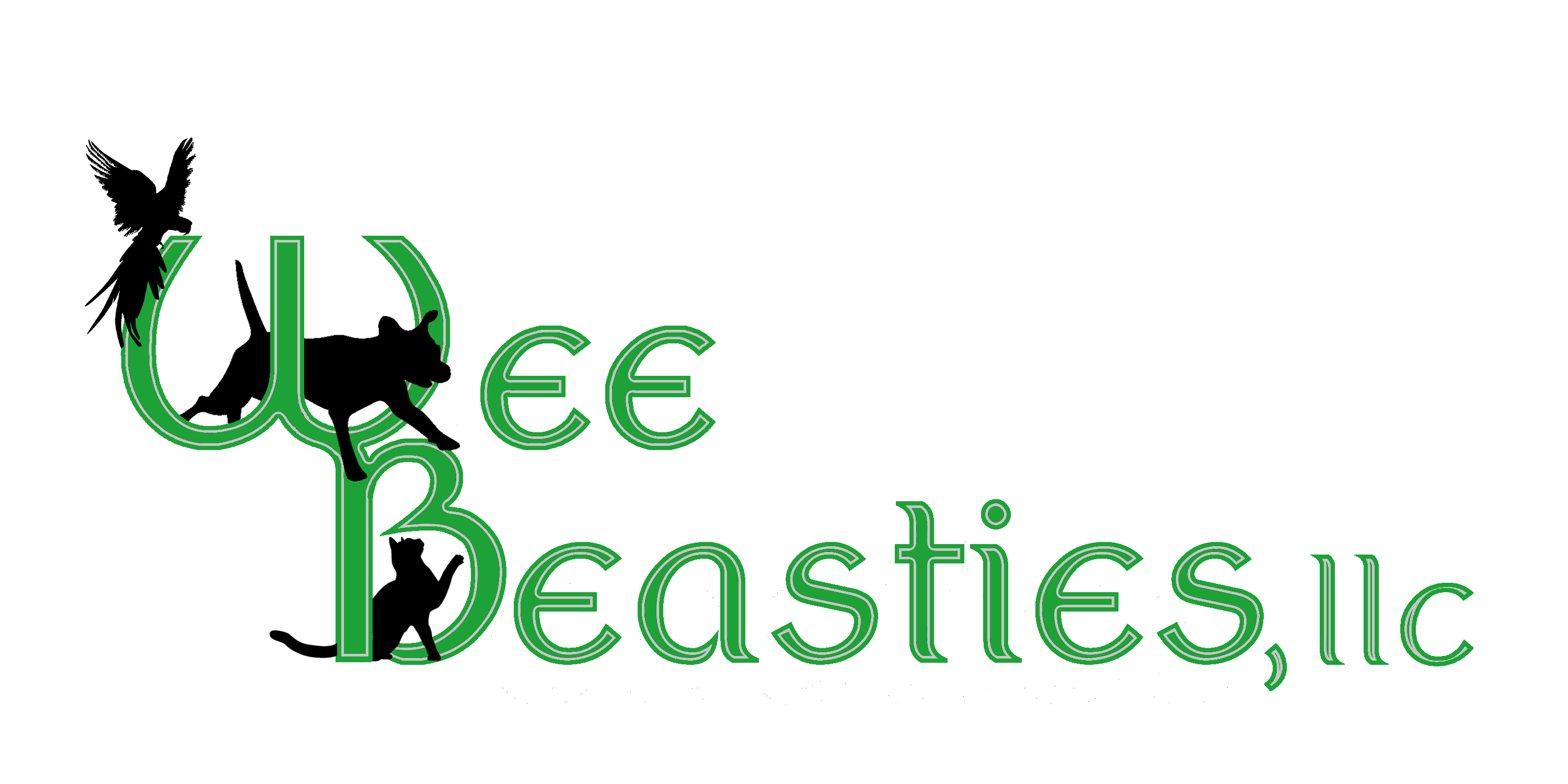 Wee Beasties logo of a dog, cat and parrot playing in the words wee beasties