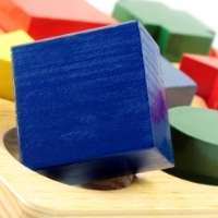 colorful blocks in different shapes with focus on a square peg trying to fit in a round hole